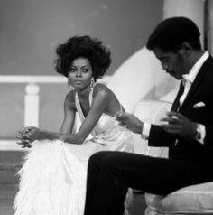 Diana Ross and Sammy Davis Jr take a break from filming