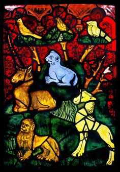 Erfurt Cathedral, Genesis Window, sII the Creation of the Animals (detail), (c) CVMA Deutschland/Potsdam Medieval Stained Glass, Stained Glass Church, Stained Glass Angel, Stained Glass Windows, Wine Bottle Wall, Glass Wall Art, Glass Animals, Medieval Art, Glass Ornaments