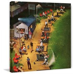 Marmont Hill Golf Driving Range by John Falter Painting Print on Canvas, Size: 18 inch x 18 inch, Multicolor