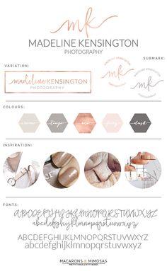 Watercolor Logo Design / Custom Logo design / Rose Gold Photography Branding Kit / Premade branding package / Stamp watermark Calligraphy