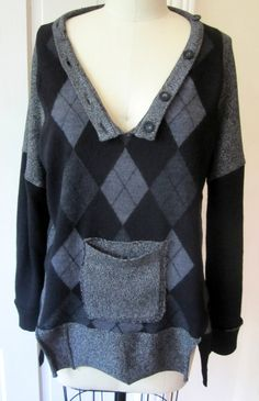 BREATHE AGAIN  Reconstructed argyle O C Sweater by Breathe1960, $125.00