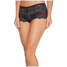Wacoal Lace Impressions Boyshorts (Medieval Blue) Women's Underwear (200 DKK) ❤ liked on Polyvore featuring intimates, panties, wacoal, lacy boyshorts, lace boyshorts, sexy lace boyshorts and sexy boyshorts