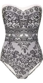 JETS BY JESSIKA ALLEN WHITE LABEL  Delicate lace-print bandeau swimsuit - OMG!