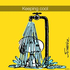 Snoopy keeping cool