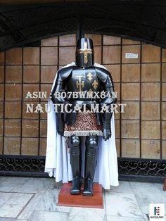 NauticalMart Dark Black Medieval Full Suit of Crusader Armor Reenactment Costume Wooden Display Stand, Larp Armor, Full Body Suit, Medieval Knight, Suit Of Armor, Halloween Costumes, Armors, Suits, Dark