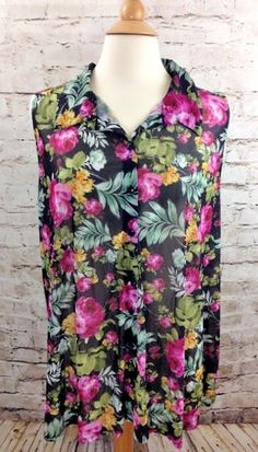 EMBER Sleeveless Floral Blouse Plus Size 2X Semi Sheer Poly Button Front Top EUC #Ember #Blouse #Casual