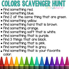Colors Scavenger Hunt games for toddlers Preschool Learning Activities, Preschool At Home, Indoor Activities For Kids, Home Activities, Home Learning, Toddler Learning, Toddler Activities, Color Activities For Preschoolers, Exercise Activities