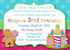 Image of: Candyland Themed Birthday Party Invitations