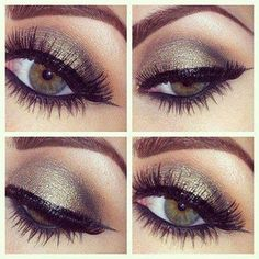 Pretty olive green smokey eye for fall