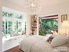 Love the window seat and balcony!