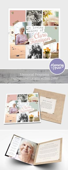 A custom scrapbooking themed funeral program for Mom. Lotus Design. Customised by a professional Graphic Designer for only $99.90. Designed by Memory Press, available at memorypress.co