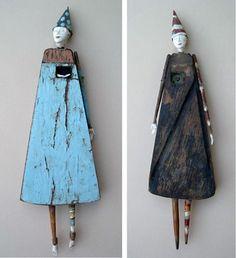 Cathy Rose Studio: inspiration for advent calendar sculpture Sculptures Céramiques, Sculpture Art, Paper Dolls, Art Dolls, Found Object Art, Junk Art, Paperclay, Assemblage Art, Recycled Art