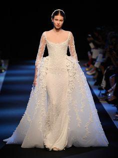 2000s bustle inspired wedding dress: Georges Hobeika, Paris Couture Fashion Week 13