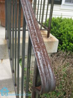 How to remove rust stains on concrete and from metal railing before painting it.