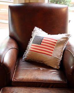 flag w/blue ticking pillow