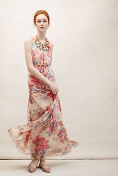 AnthropologieBlooming Silk Maxi Dress