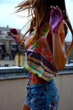 Aztec print vest top