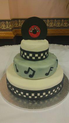 1950's theme wedding cake