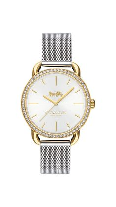 The COACH Lex watch is a slender, understated timepiece that wears like jewelry.This stainless steel two-tone mesh bracelet design features a sparkling Swarovski® crystal bezel.