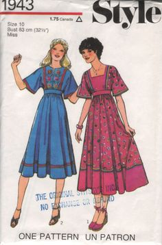UNCUT 70s Vintage Sewing Pattern EMBROIDERED DRESS by HoneymoonBus, $9.99