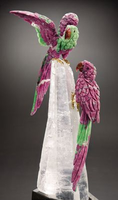 Ruby Macaw Couple on a Lit Rock Crystal Base - Artist: Peter Muller