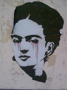 Frida street art  Cores de Frida Calo sem cores