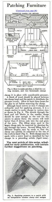 Patching Furniture (aka Dutchman). Popular Science, circa July 1928, page 97