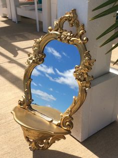 Vintage Syroco Gold Ornate Mirror with Shelf, Hollywood Regency Decor, Shabby Chic Decor, Glam by YellowHouseDecor on Etsy https://www.etsy.com/listing/247720381/vintage-syroco-gold-ornate-mirror-with
