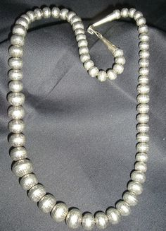 Sterling Silver Navajo Pearls Necklace and Earring Set