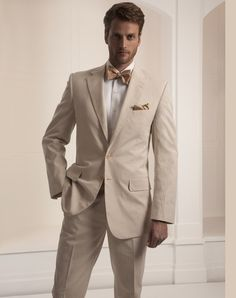 tan w/ brown, not a traditional grooms tuxedo, yet still classy look, love the vintage preppy w/ bowtie.