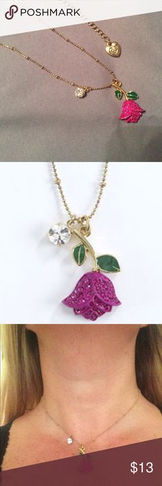 """💐Bestsey Johnson Pink Tulip Necklace 💐 Pretty and delicate gold tone chain with crystal charm and crystal encrusted hot pink tulip.  16"""" chain with 3"""" drop extension.  EUC Betsey Johnson Jewelry Necklaces"""