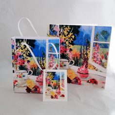 Quality Printed Design Led, Fine Art and Handmade Greetings Cards for all Occasions Tea Gifts, Afternoon Tea, Gift Bags, Bag Making, Print Design, Greeting Cards, Make It Yourself, Fine Art, Tags