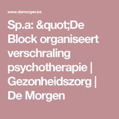 """Sp.a: """"De Block organiseert verschraling psychotherapie   Gezonheidszorg    De Morgen"""