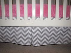 Gray Chevron Crib Skirt with Pleat by Babydreamin on Etsy