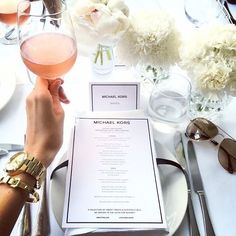 Thanks @Chateaudesclans for this inside look into the @MichaelKors fall #NWFW sneak peek. If only the sneak peek was of the clothes and not the delicious lunch menu. Guess we will wait until September 8-15. . . . . . #MichaelKors #Designer #Fashion #Rosé #Dine #Shop #Shopping #Accessories #Tablescape #Flowers #Beauty #Beautiful #LA #Watch #Bracelet #MKWatch #Sunglasses #Lunch #Brunch #Luxury #Luxurious