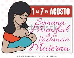 Beautiful latin mother feeding her baby close to a calendar with reminder date for World Breastfeeding Week event (written in Spanish) in August. Mother Feeding, World Breastfeeding Week, Spanish, Calendar, Royalty Free Stock Photos, Writing, Baby, Image, Beautiful