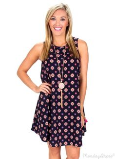 Hold Your Head Up Navy Woven Dress | Monday Dress Boutique