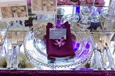 Mirror Head Table Set-up, Wedding Ideas, White & Purple Burgundy Ranunculus, Wedding Flower Ideas  @ The Ultimate Bridal Show 2015 at the Living Arts Centre, Ontario, Canada  Set-up by Peppermint Weddings, Toronto, Ontario  Photo by EvaImage Photography, Toronto, Ontario