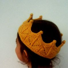 Golden Yellow Lace Knit Crown Headband for Dress Up, Pretend Play, Birthday, Child Crown, Baby Crown