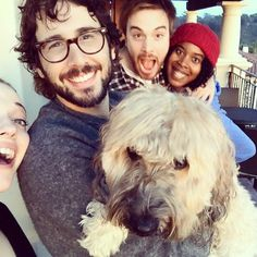 Pin for Later: Stars Share Their Super Bowl Spirit in Fun Social Snaps Kat Dennings and Josh Groban celebrated with a furry pal. Great Comet Of 1812, The Great Comet, Josh Groban Broadway, Super Bowl 2015, Josh Gorban, Kat Dennings, Sweeney Todd, Harrison Ford, Gisele