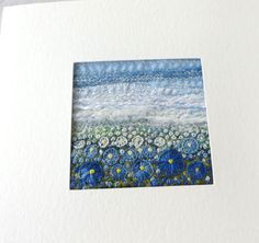 Blue embroidered flowers card  handmade square fabric art