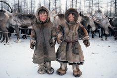 Nenet boys, reindeer herders