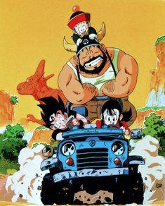 Goku and Chichi /Gohan /Gyumaofrom scan of Vintage DRAGON BALL Z CD 1990 Calendar (May)Published by Studio Bird / Toei Animation TV /Akira Toriyama / Shueishasource : personal collection