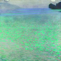 """A """"frame filled with lake water"""" is what one contemporary art critic called Gustav Klimt's 1901 painting of Lake Attersee. Although several commentators are of the opinion that this lake painting is almost even abstract, it wa Gustav Klimt, Klimt Art, Illustration Art, Illustrations, Wow Art, Oeuvre D'art, Painting Inspiration, Art History, Landscape Paintings"""