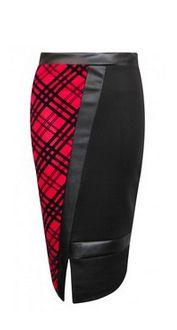 Gorgeous… Jamie PVC Tarta Check Pencil Skirt