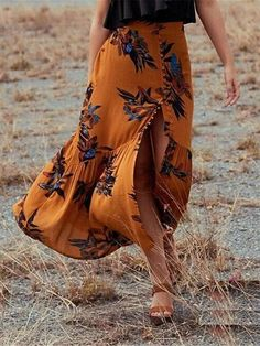 me Hippie Boho Jupe Femme Faldas Mujer Saia Roupas Femininas Coton Lin Floral Femmes Longue Jupe Plissé Floral Print Skirt, Floral Maxi, Pencil Skirt Outfits, Beach Skirt, Long Skirts For Women, Floral Fashion, Fashion Fall, Boho Fashion, Feminine Fashion