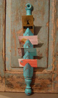 Turquoise Distressed Mail Organizer Business Card Holder $18