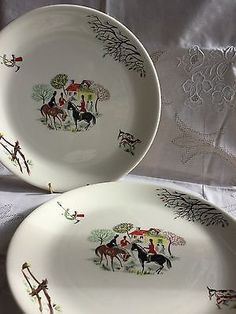 2 (pair) Vintage ALFRED MEAKIN TALLY-HO DINNER PLATES 10 Inch