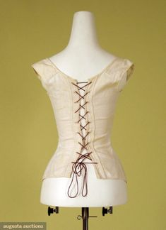 Augusta Auctions: 1810-25. white linen homespun, corded with pale gold embroidery