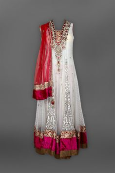 Cream & Red Floor Length Anarkali